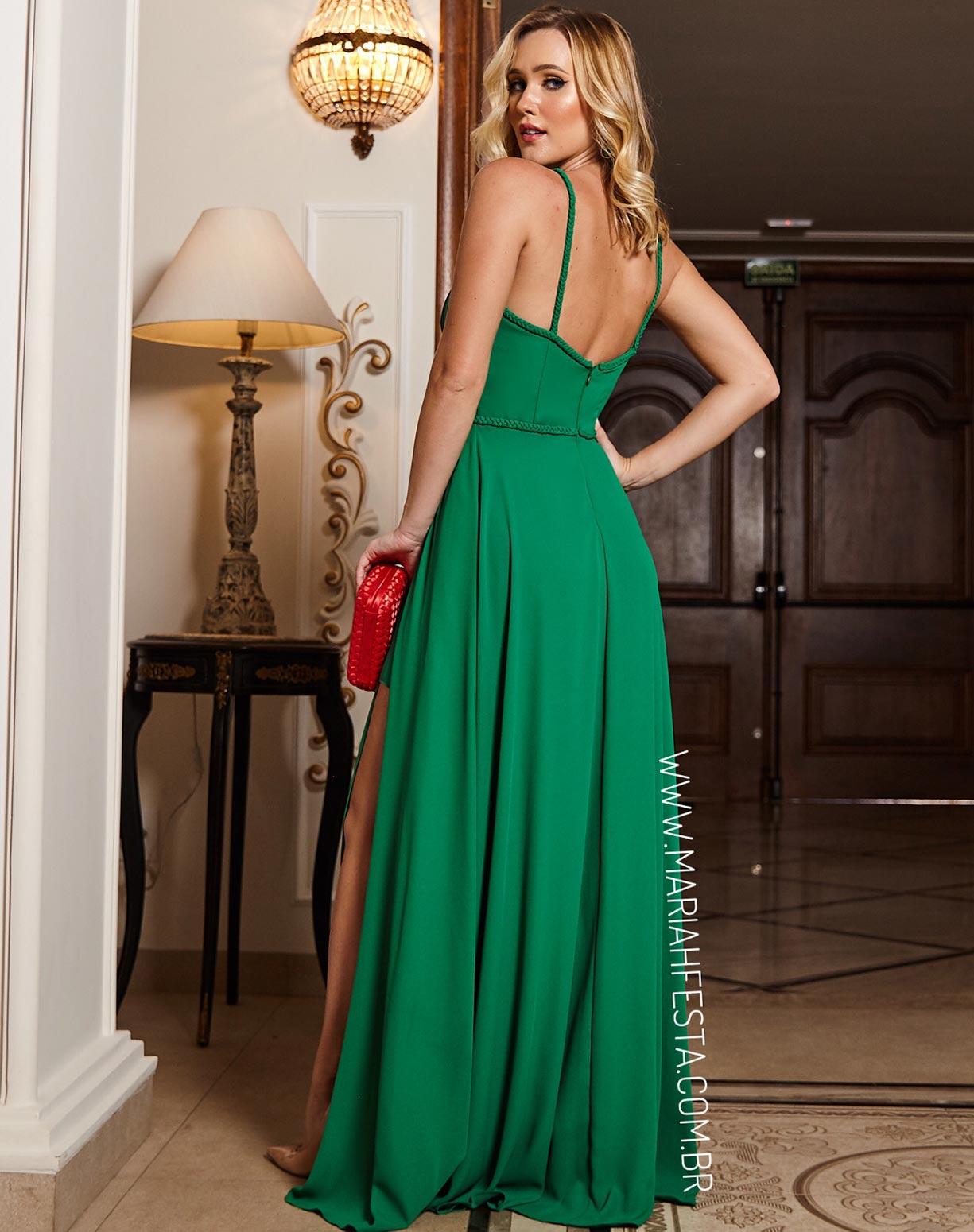 Vestido Verde Bandeira com Fendas