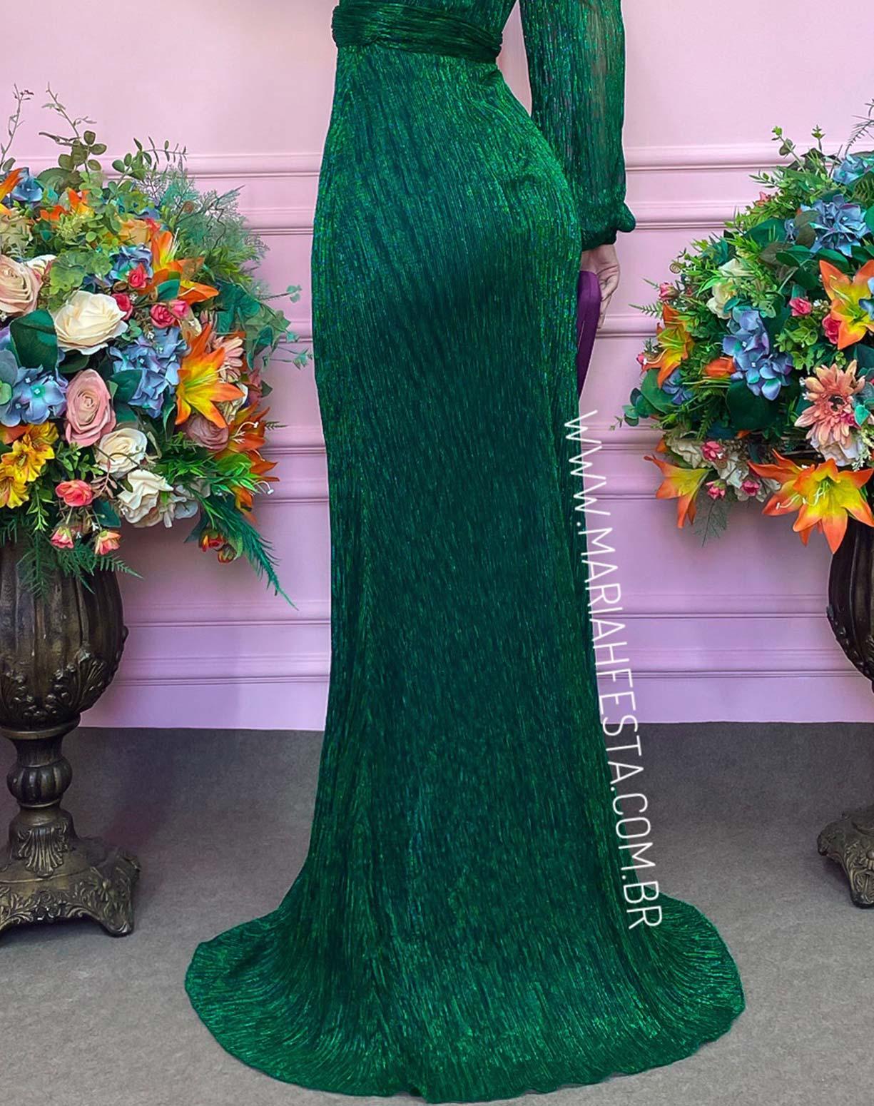 Vestido Verde Bandeira em Tule de Lurex com Manga Longa