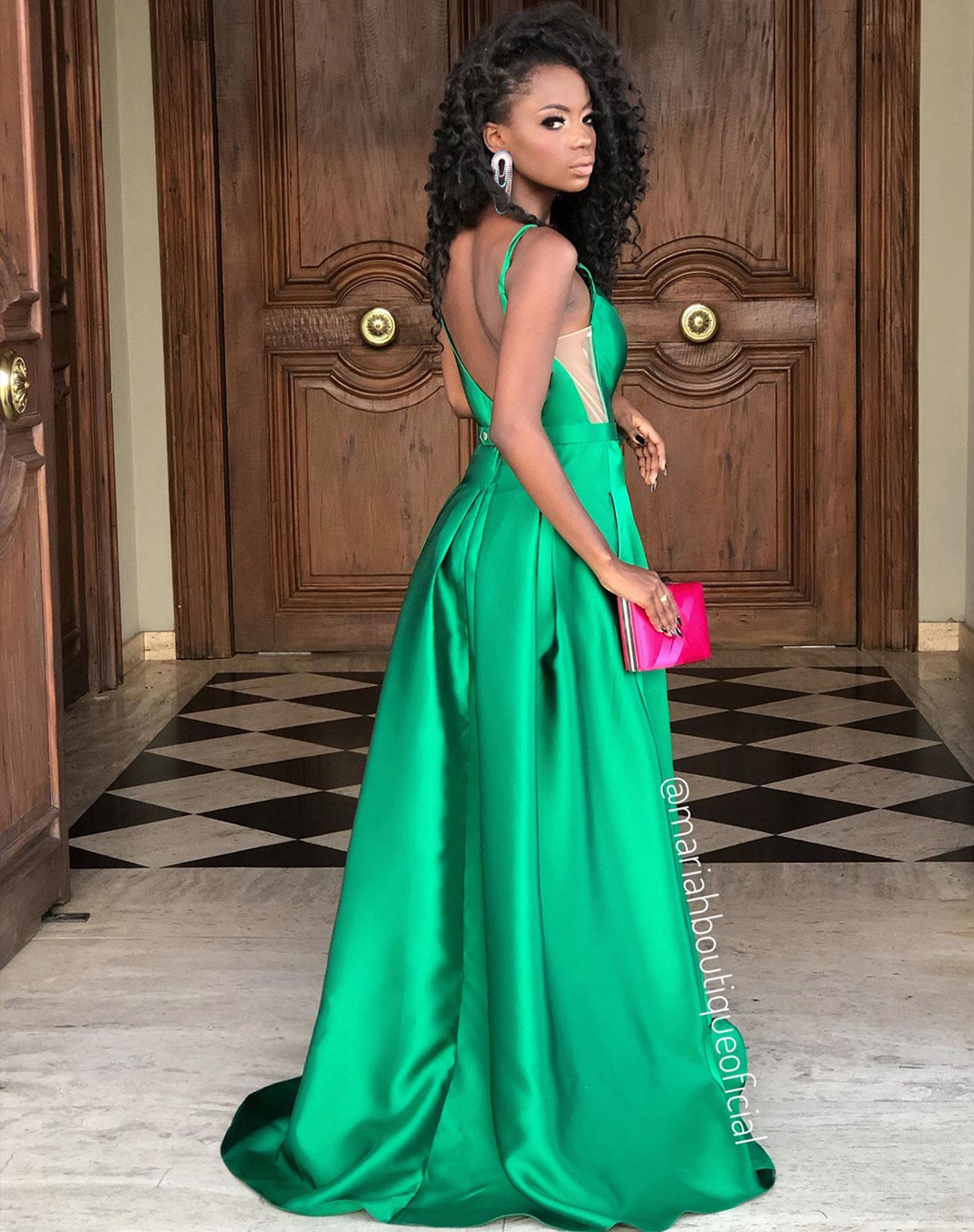 Vestido Verde Bandeira em Zibeline com Cinto de Lacinho
