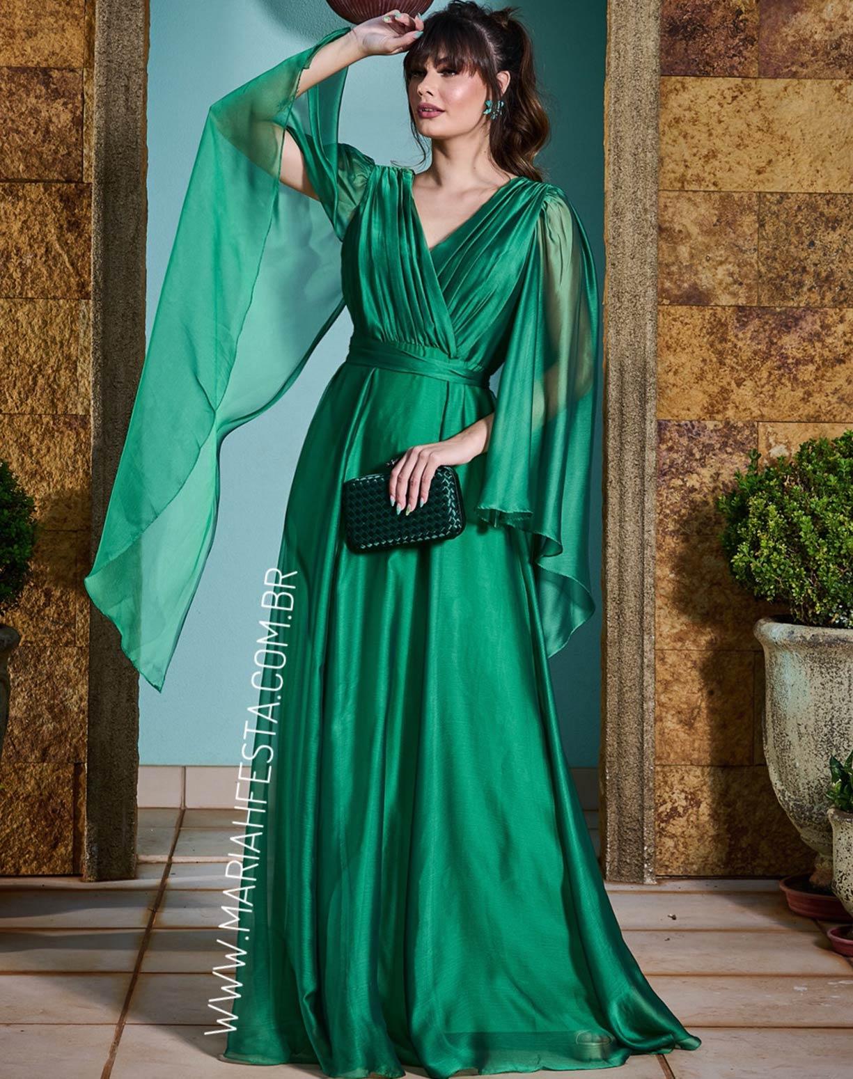 Vestido Verde Bandeira Manga Capa em Organza