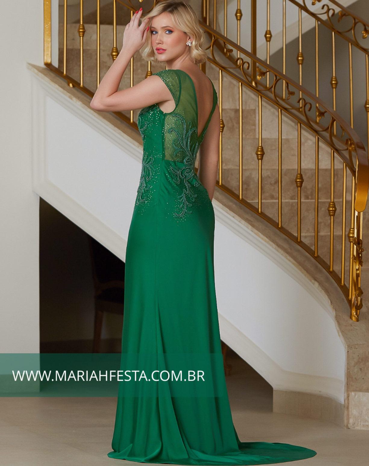Vestido Verde Bandeira Sereia com Bordados