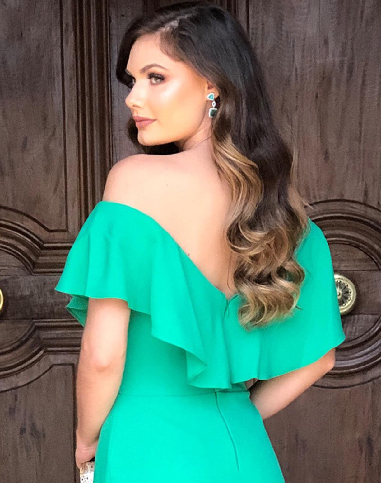 Vestido Verde com Babados