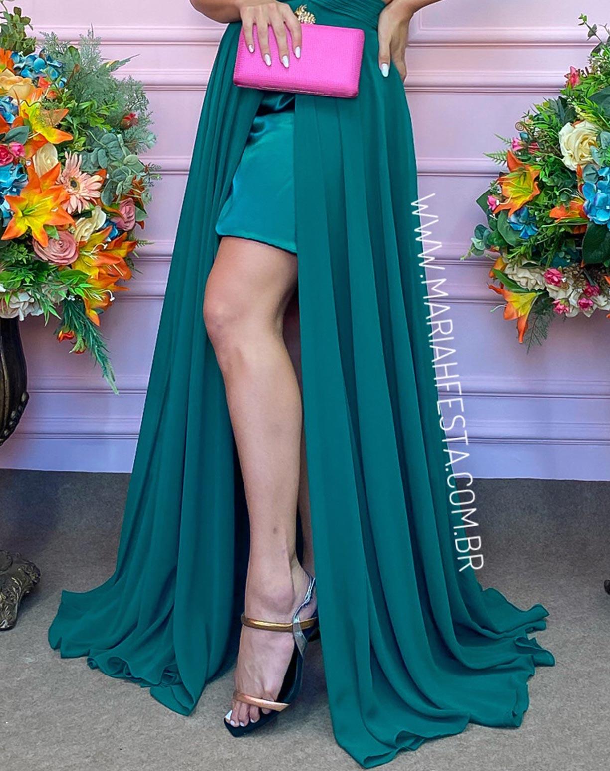 Vestido Verde com Busto Plissado e Fenda