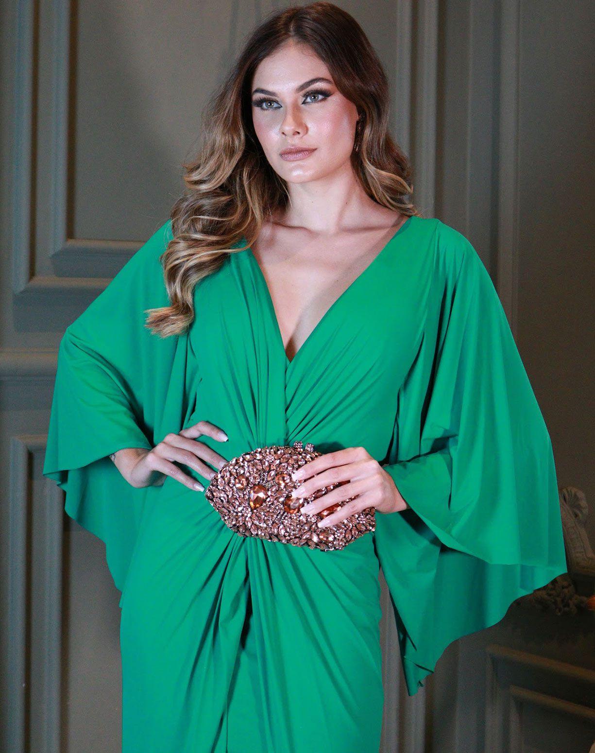 Vestido Verde em Tecido Fluity Com Manga Voal