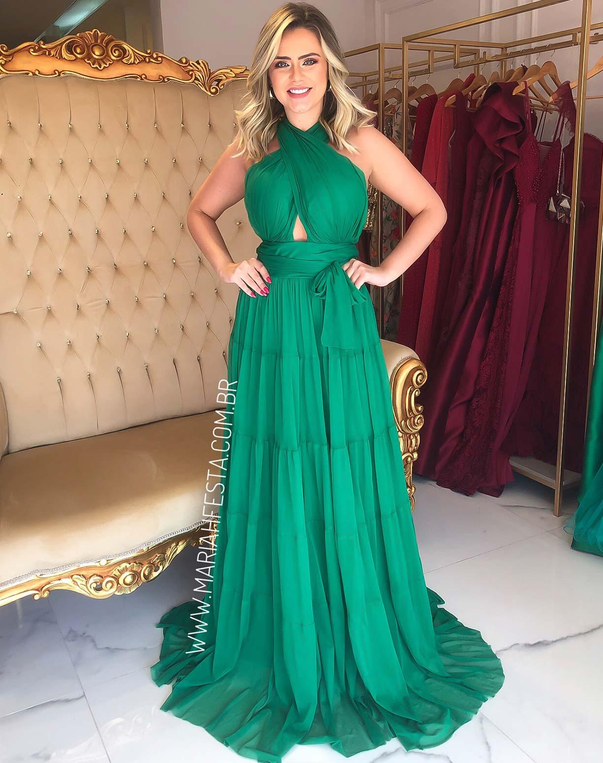 Vestido Verde em Tule com Alças Transpassadas