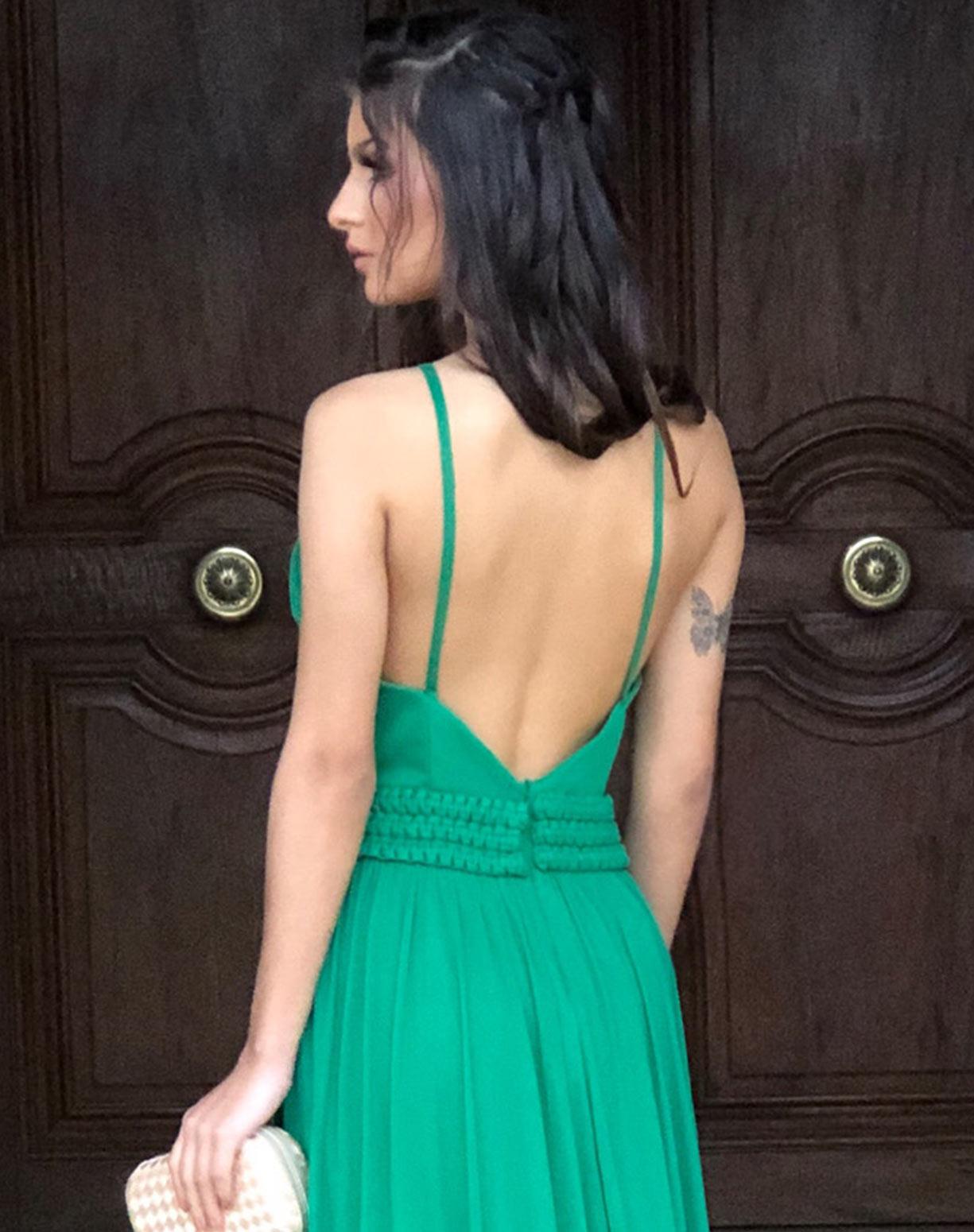 Vestido Verde em Tule com Fenda e Cinto em Macramê