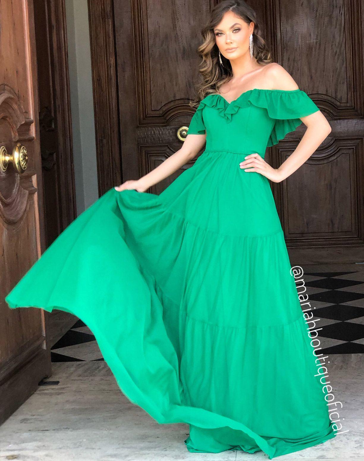 Vestido Verde em Tule e Corpo Estruturado