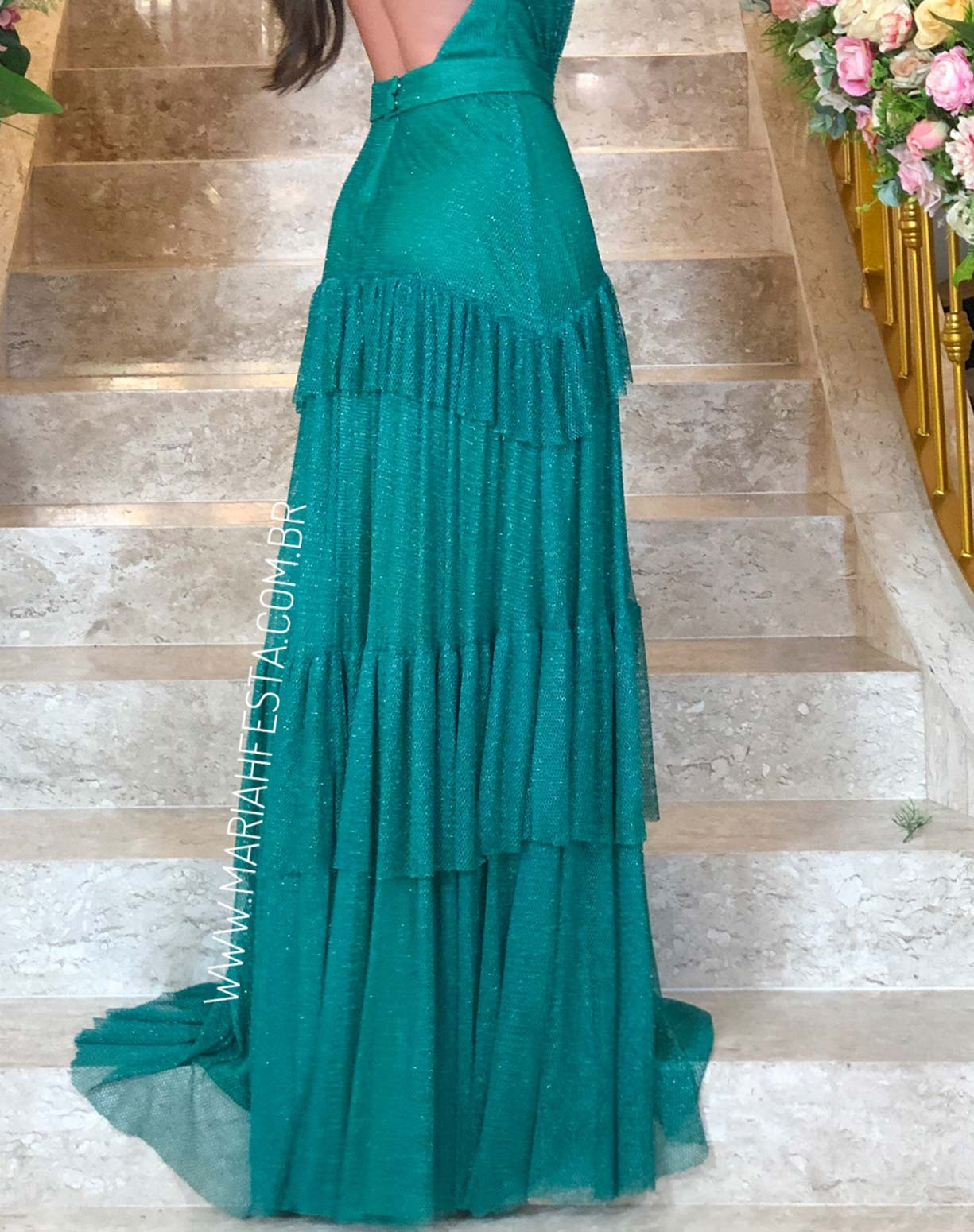 Vestido Verde em Tule Tela com Glitter