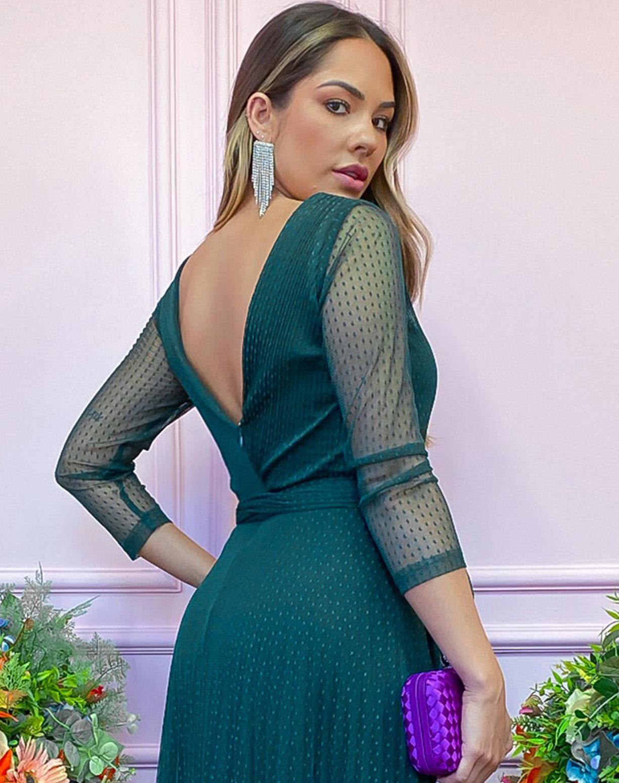 Vestido Verde Escuro em Tule Texturizado
