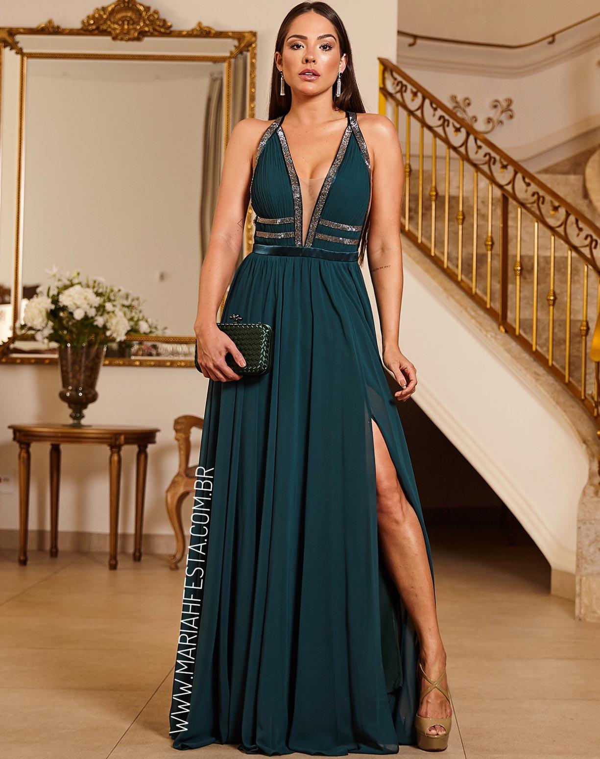 Vestido Verde Esmeralda com Busto Plissado e Detalhes em Brilho