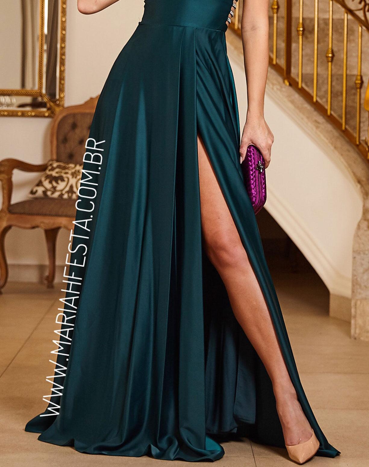 Vestido Verde Esmeralda com Fenda e Bordado nas Costas