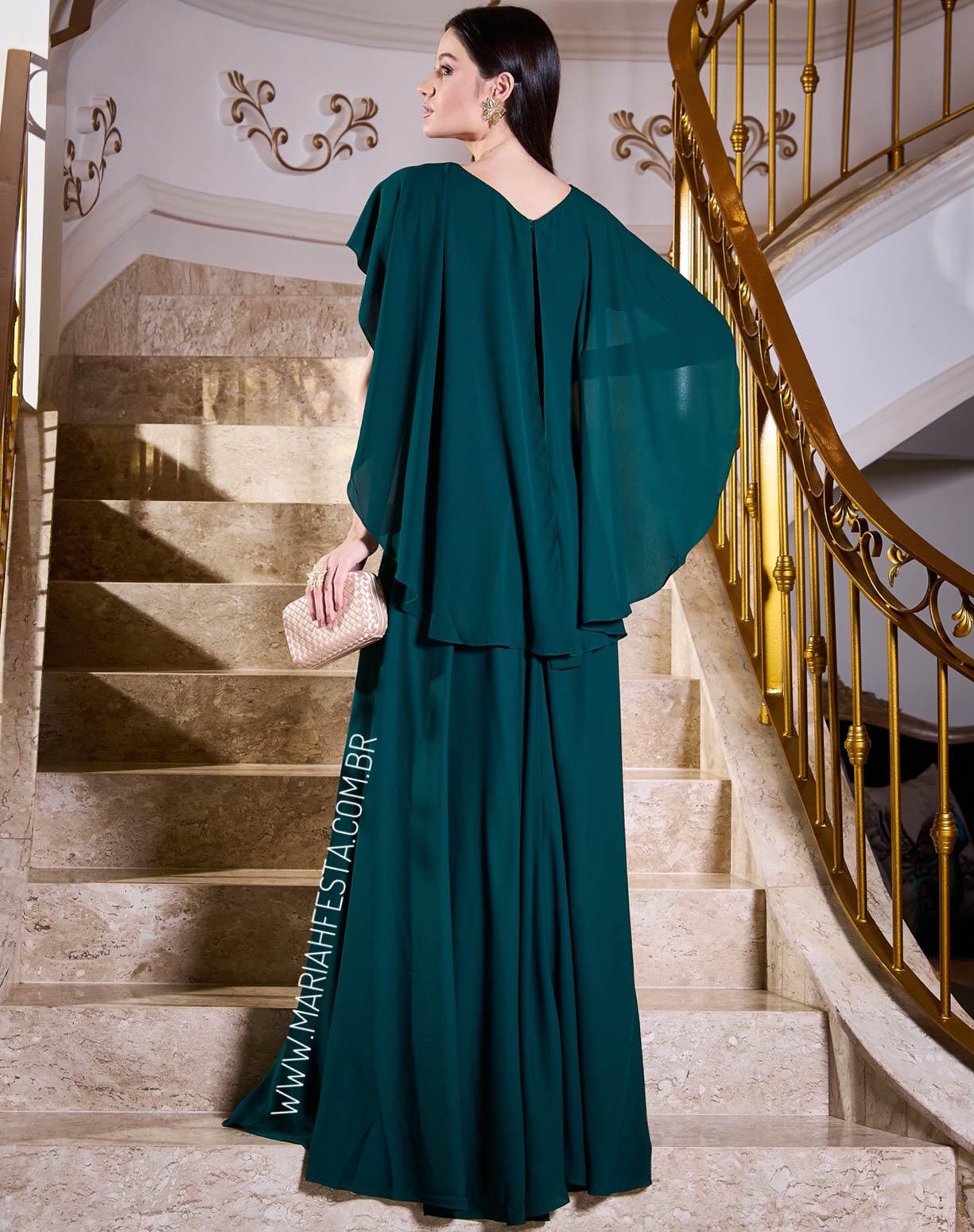 Vestido Verde Esmeralda com Manga Capa Godê