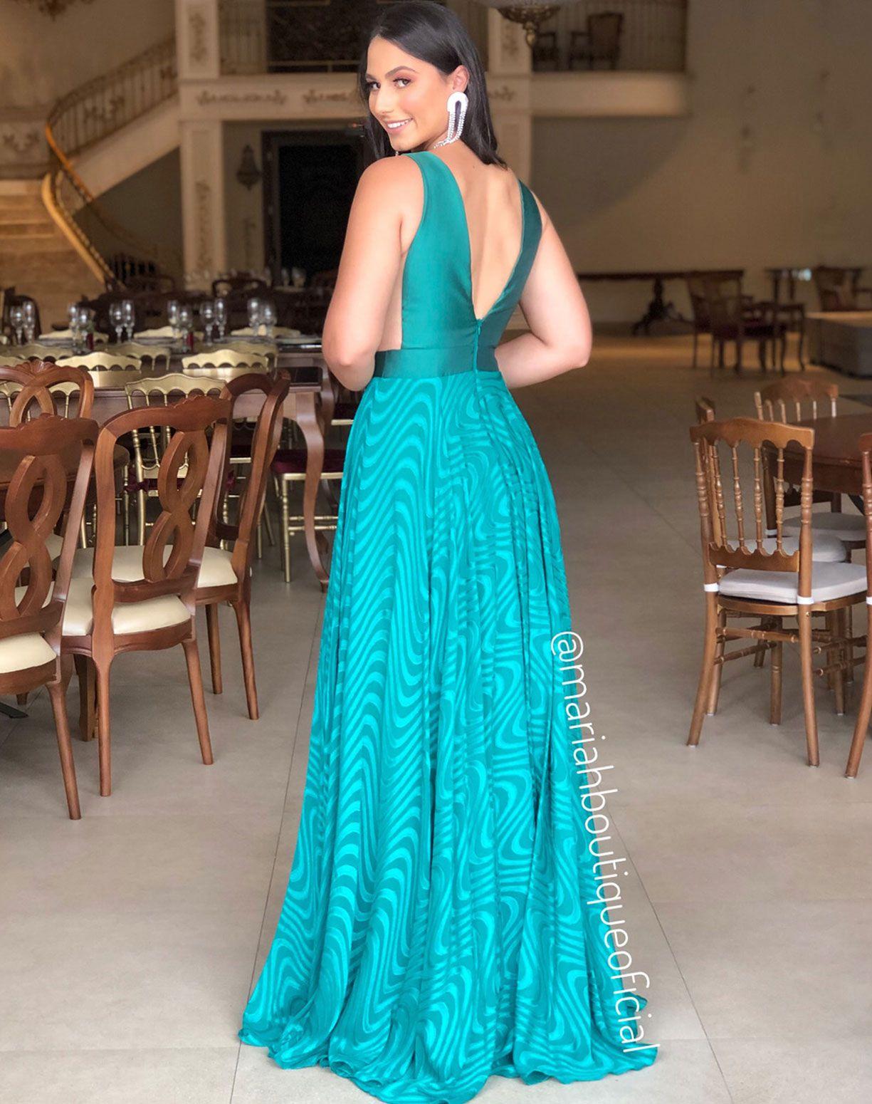 Vestido Verde Esmeralda com Saia Texturizada