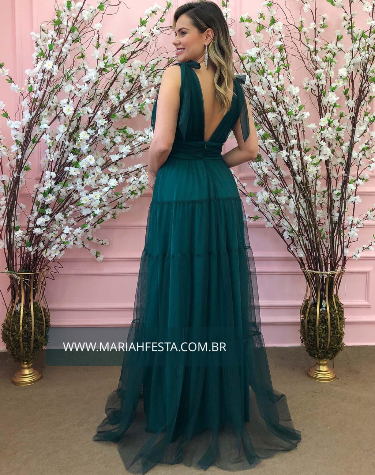 Vestido Verde Esmeralda em Tule com Alças de Amarrar