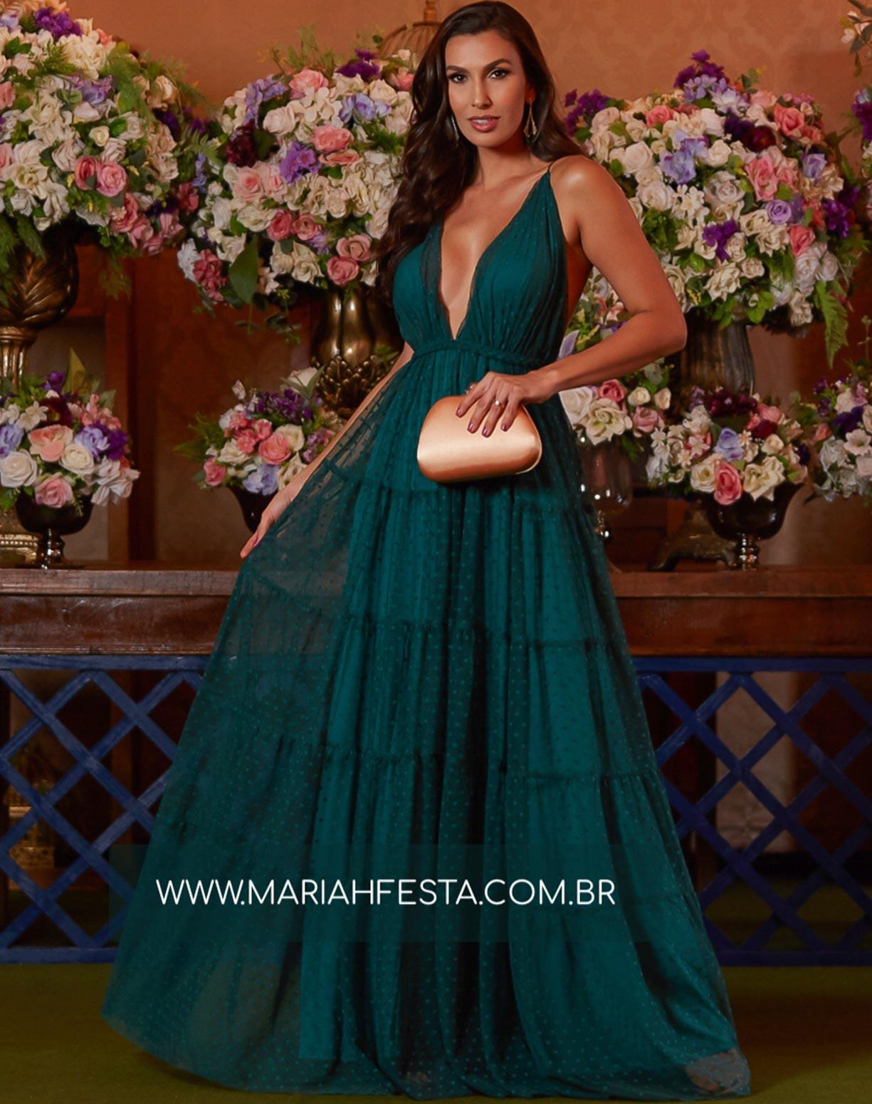 Vestido Verde Esmeralda em Tule Texturizado com Saia em Camadas e Decote nas Costas