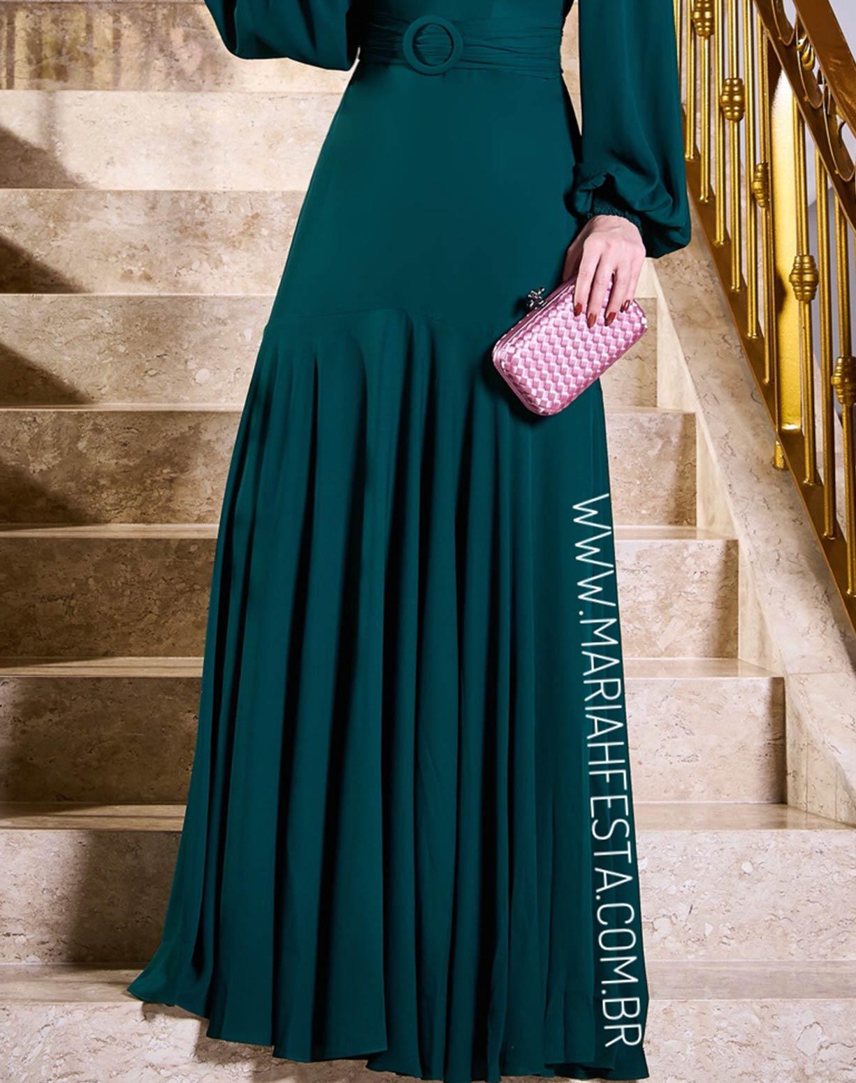 Vestido Verde Esmeralda Ombro a Ombro com Manga Longa