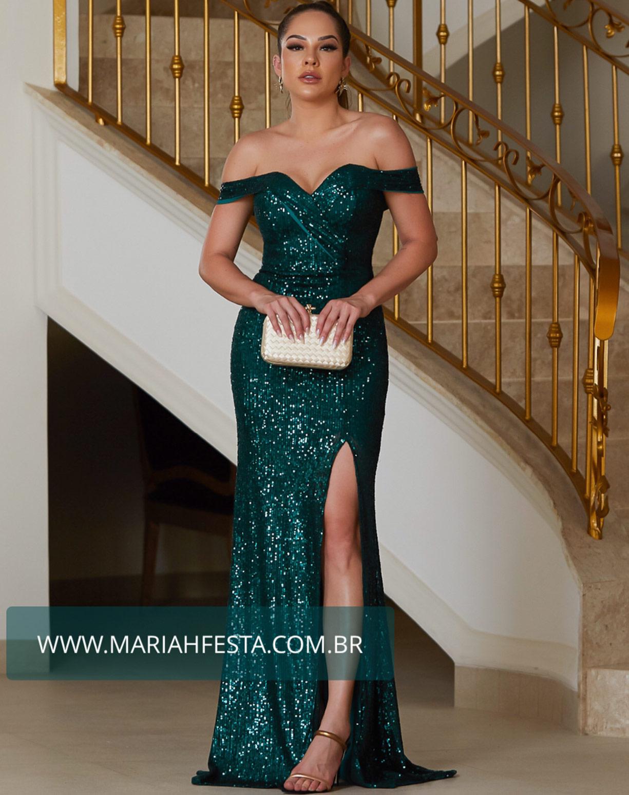 Vestido Verde Esmeralda Sereia em Paetê