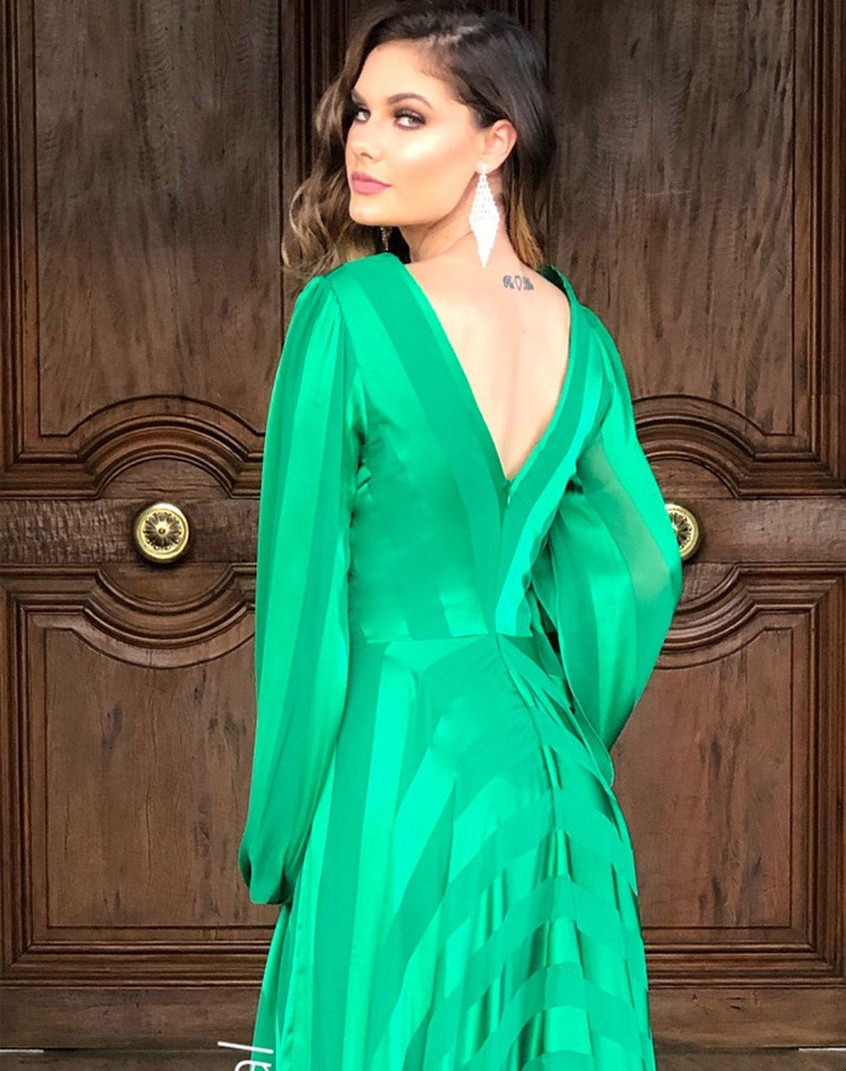 Vestido Verde Manga Longa de listras