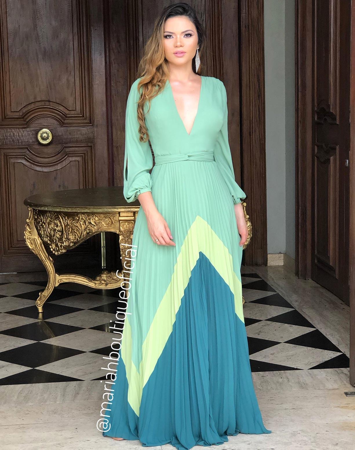 Vestido Verde Menta Barrado Geométrico
