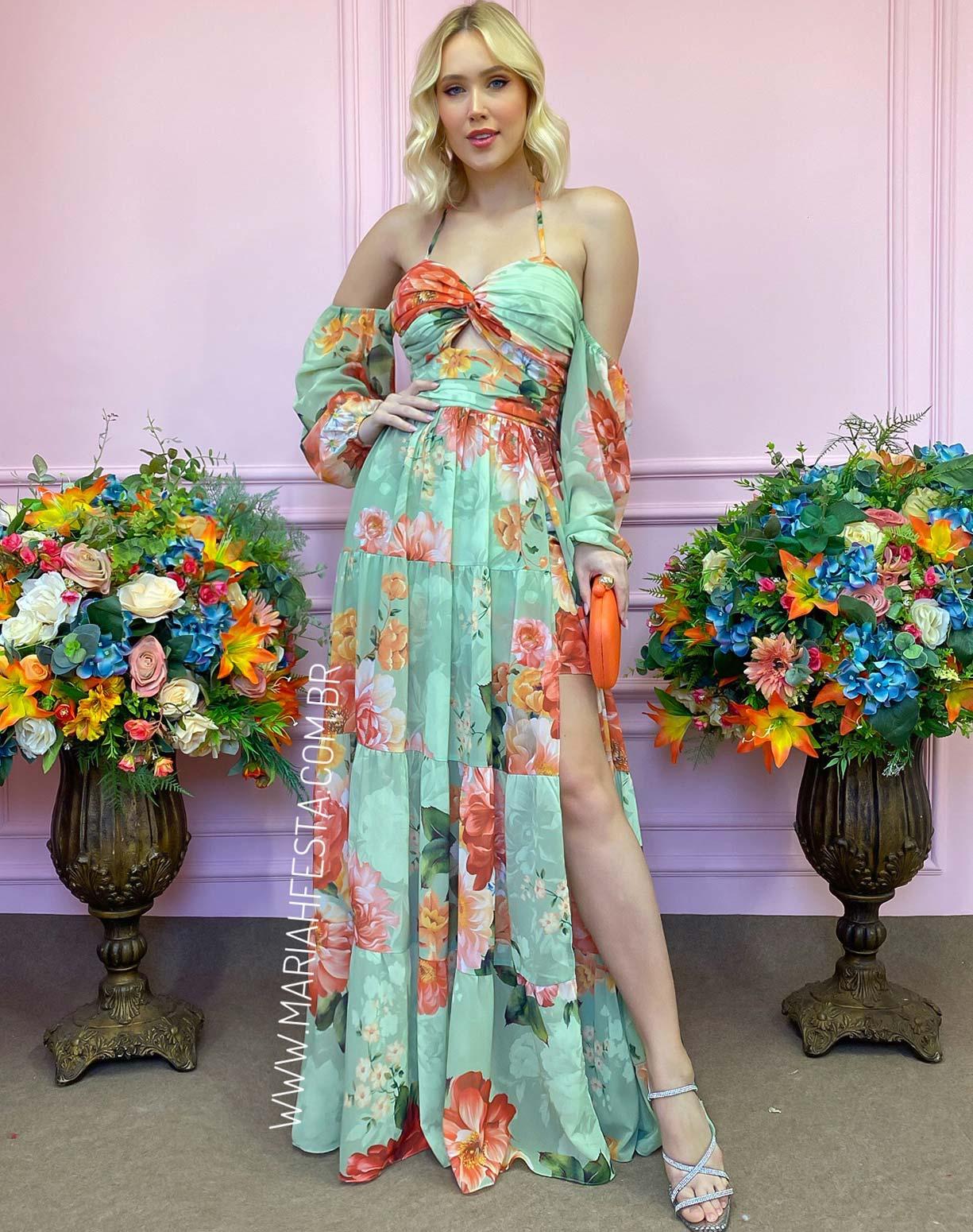 Vestido Verde Menta com Estampa Floral e Fenda