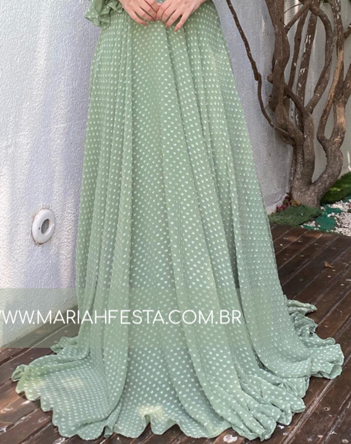 Vestido Verde Menta de um Ombro Só Texturizado