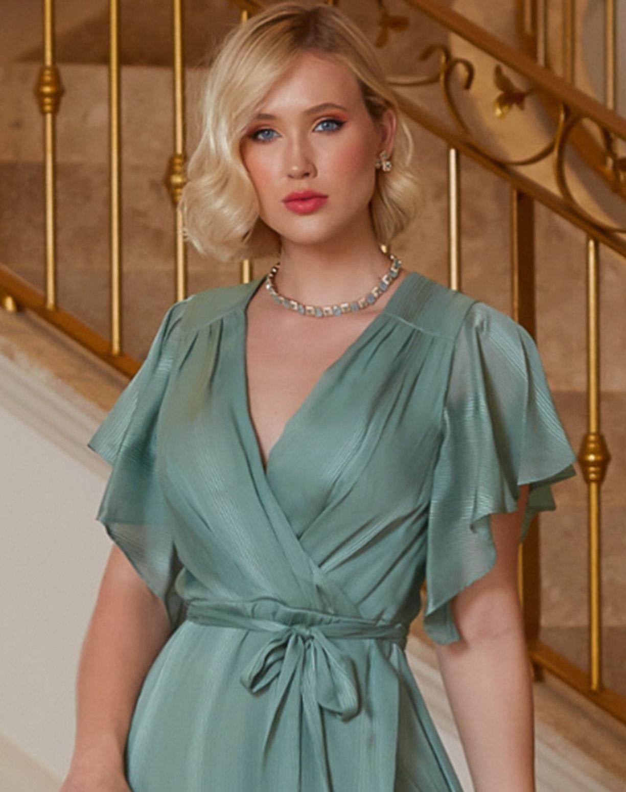 Vestido Verde Menta em Musseline com Listras Texturizadas