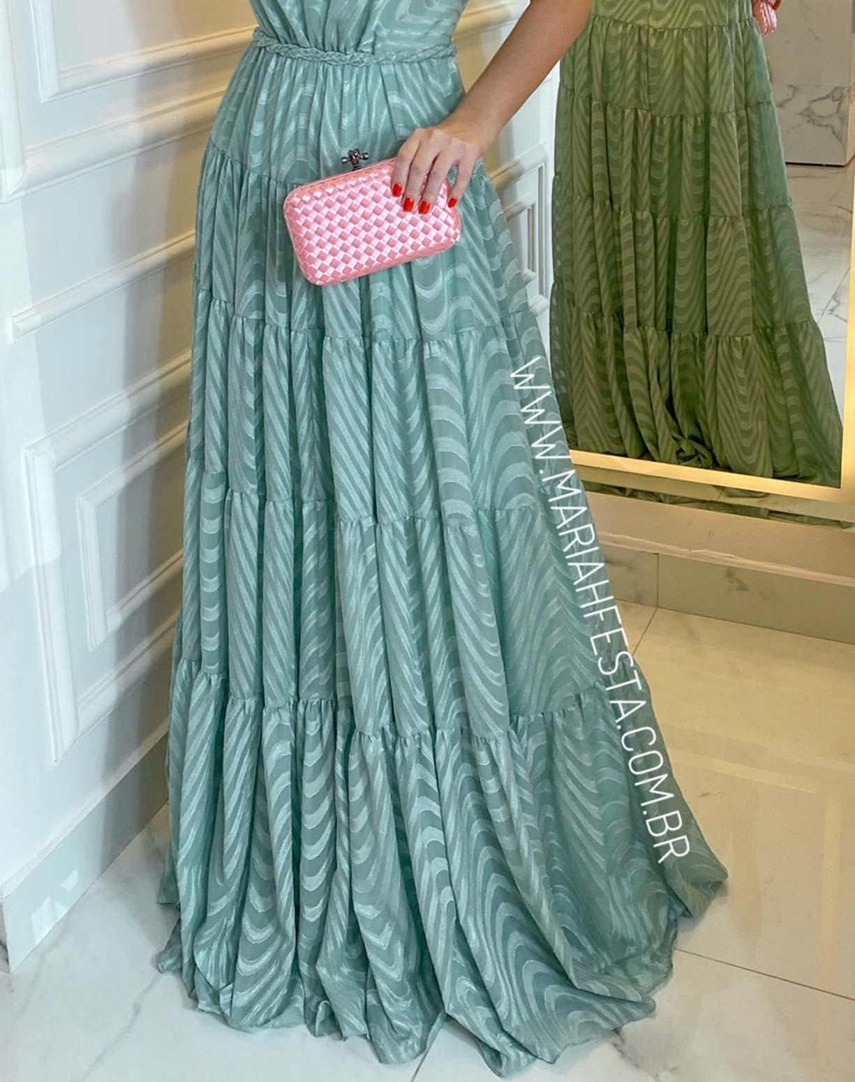 Vestido Verde Menta em Musseline Texturizado com Decote nas Costas
