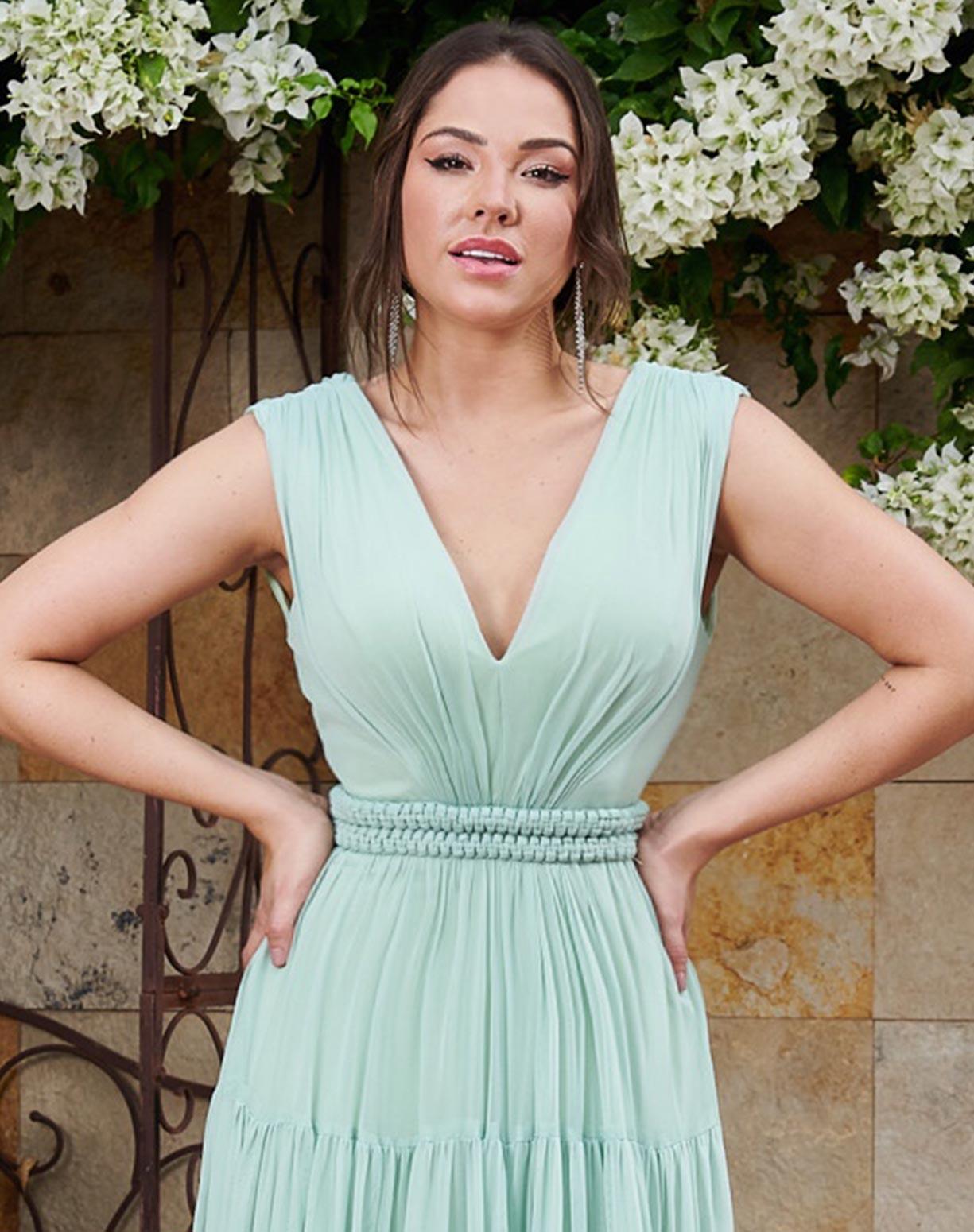 Vestido Verde Menta em Tule com Cinto Fixo em Macramê