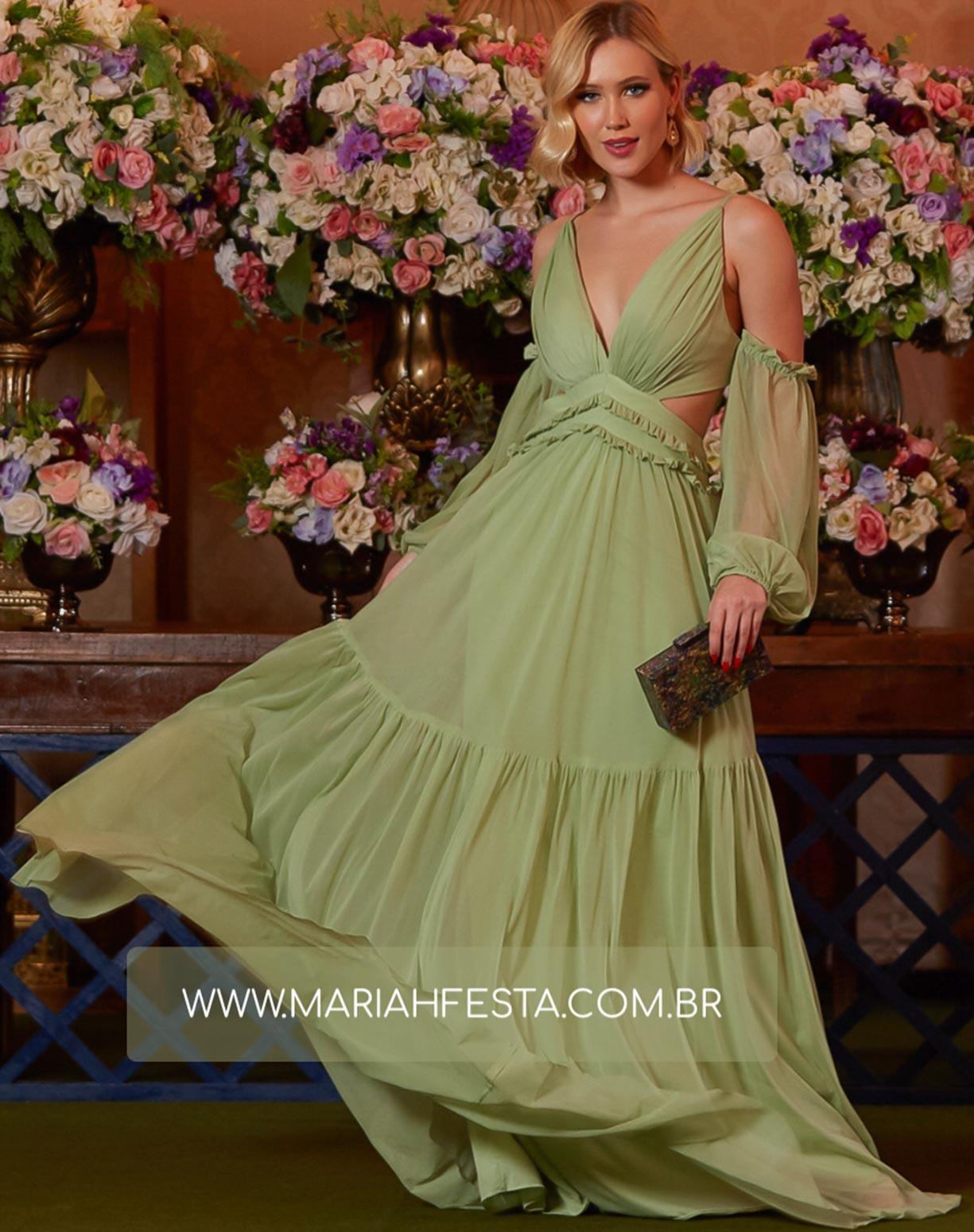 Vestido Verde Menta em Tule com Manga Ciganinha e Decote na Lateral