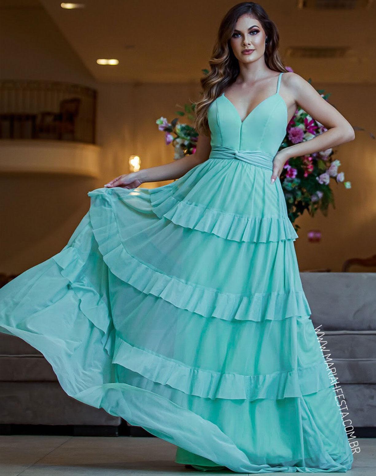 Vestido Verde Menta em Tule de Camadas