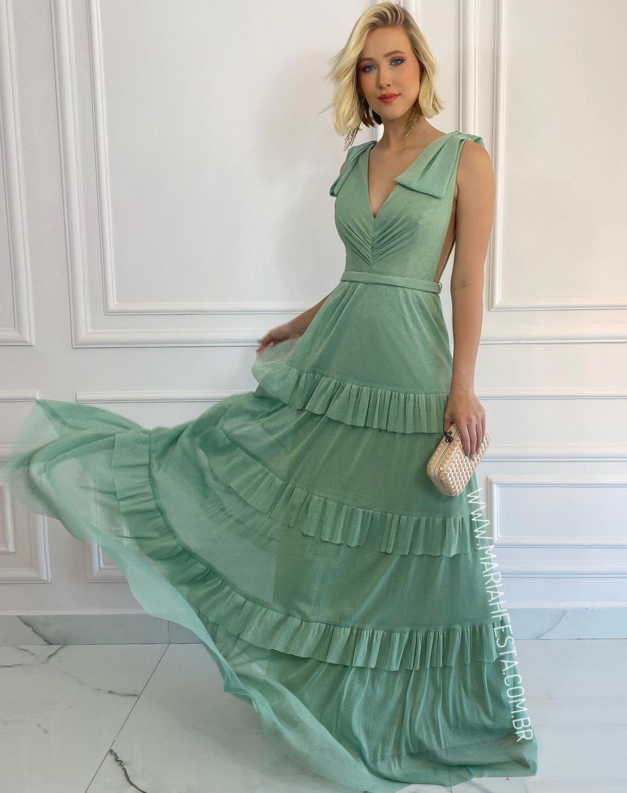Vestido Verde Menta em Tule de Lúrex