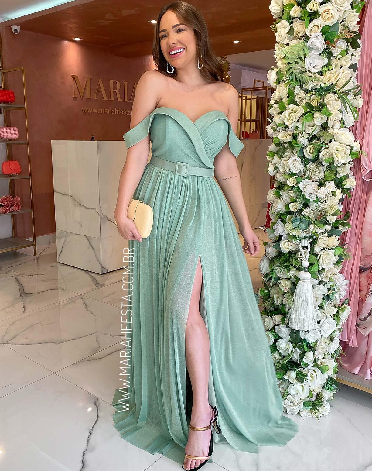 Vestido Verde Menta em Tule de Lurex