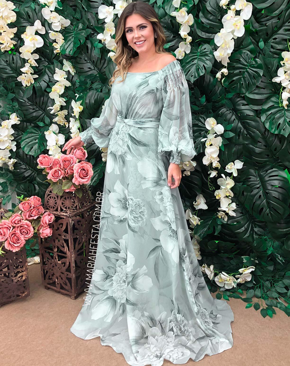 Vestido Verde Menta Ombro a Ombro Floral