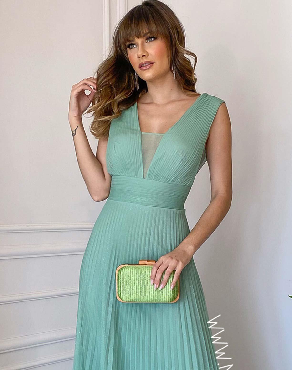 Vestido Verde Menta Tule Glitter Plissado