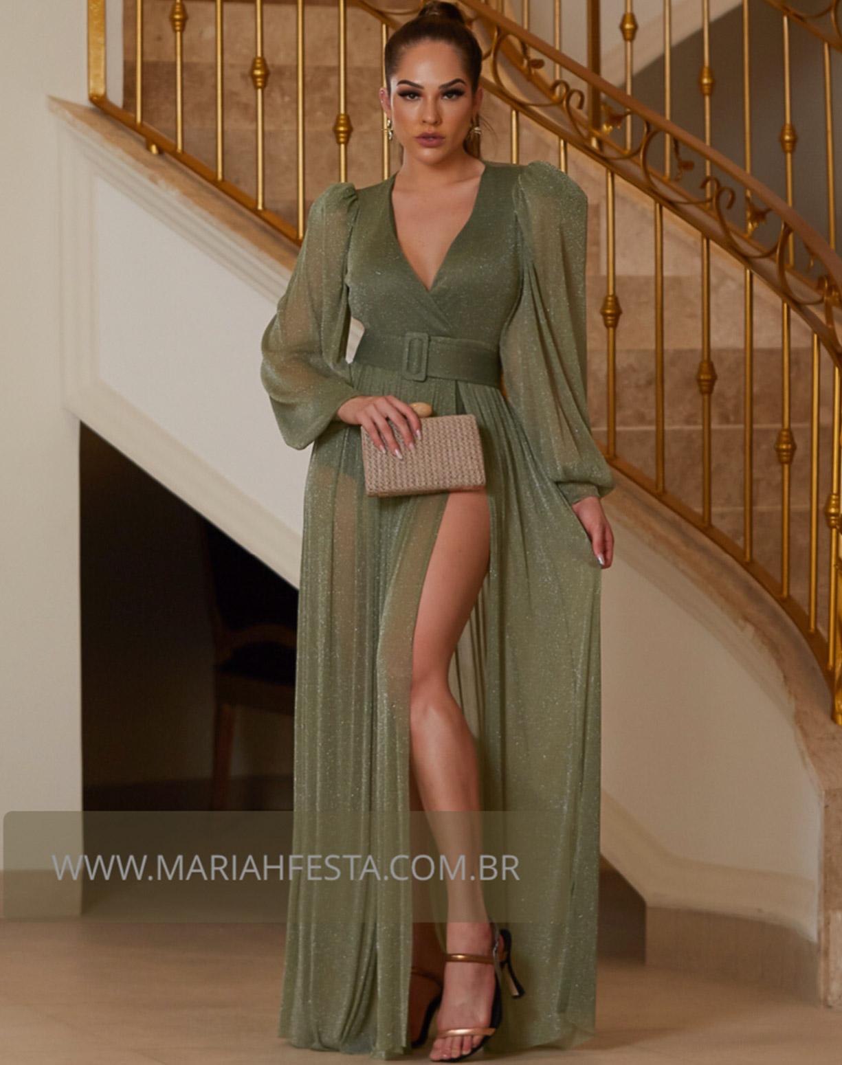 Vestido Verde Oliva em Tule de Lúrex com Manga Longa