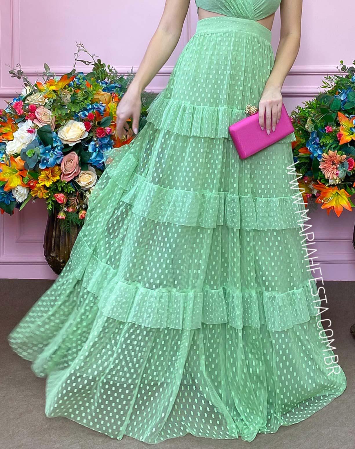 Vestido Verde Pistache em Tule Texturizado