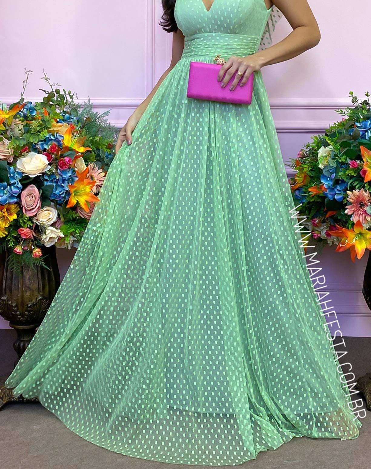 Vestido Verde Pistache em Tule Texturizado com Manguinha Princesa