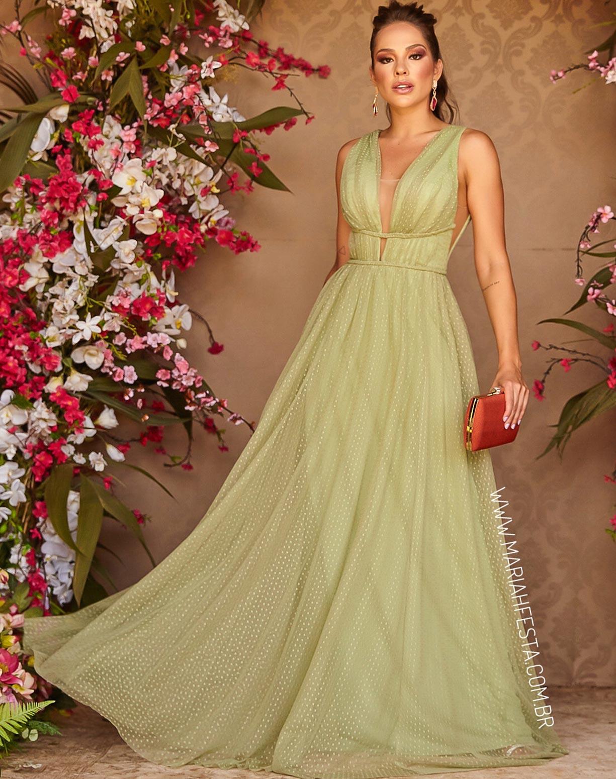 Vestido Verde Pistache em Tule Texturizado com Saia Evasê