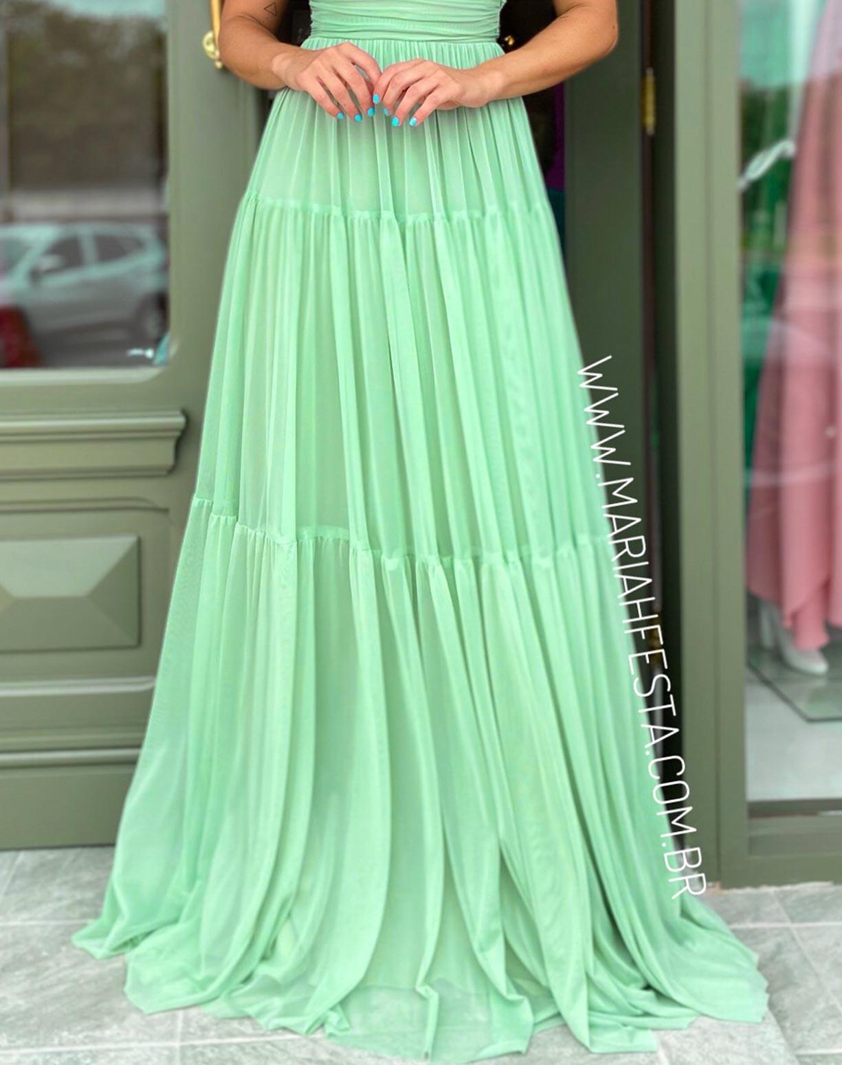 Vestido Verde Pistache Tomara que Caia em Tule