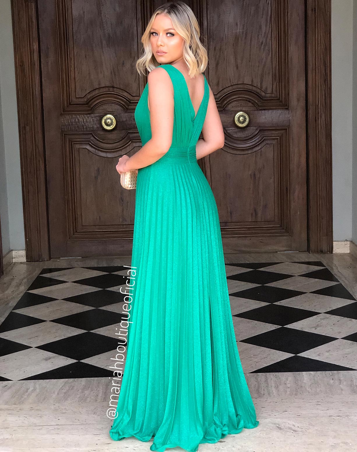 Vestido Verde Plissado em Tule Glitter