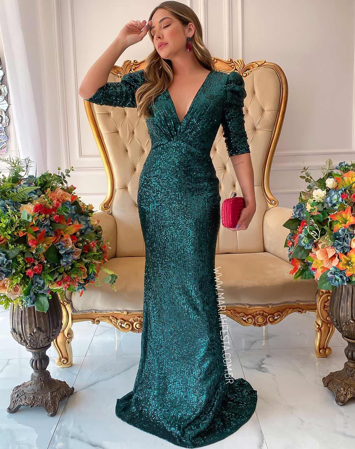 Vestido Verde  Sereia em Paetê