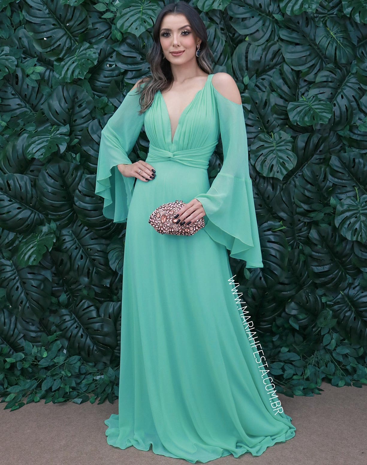 Vestido Verde Tiffany Manga Flare
