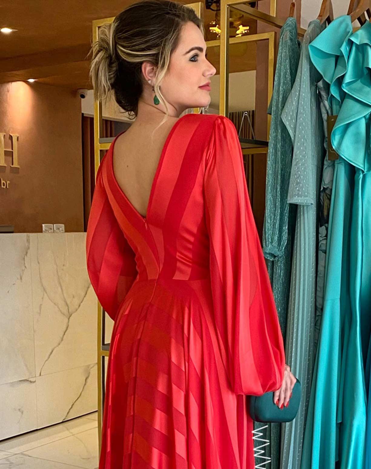 Vestido Vermelho com Listras em Seda e Organza