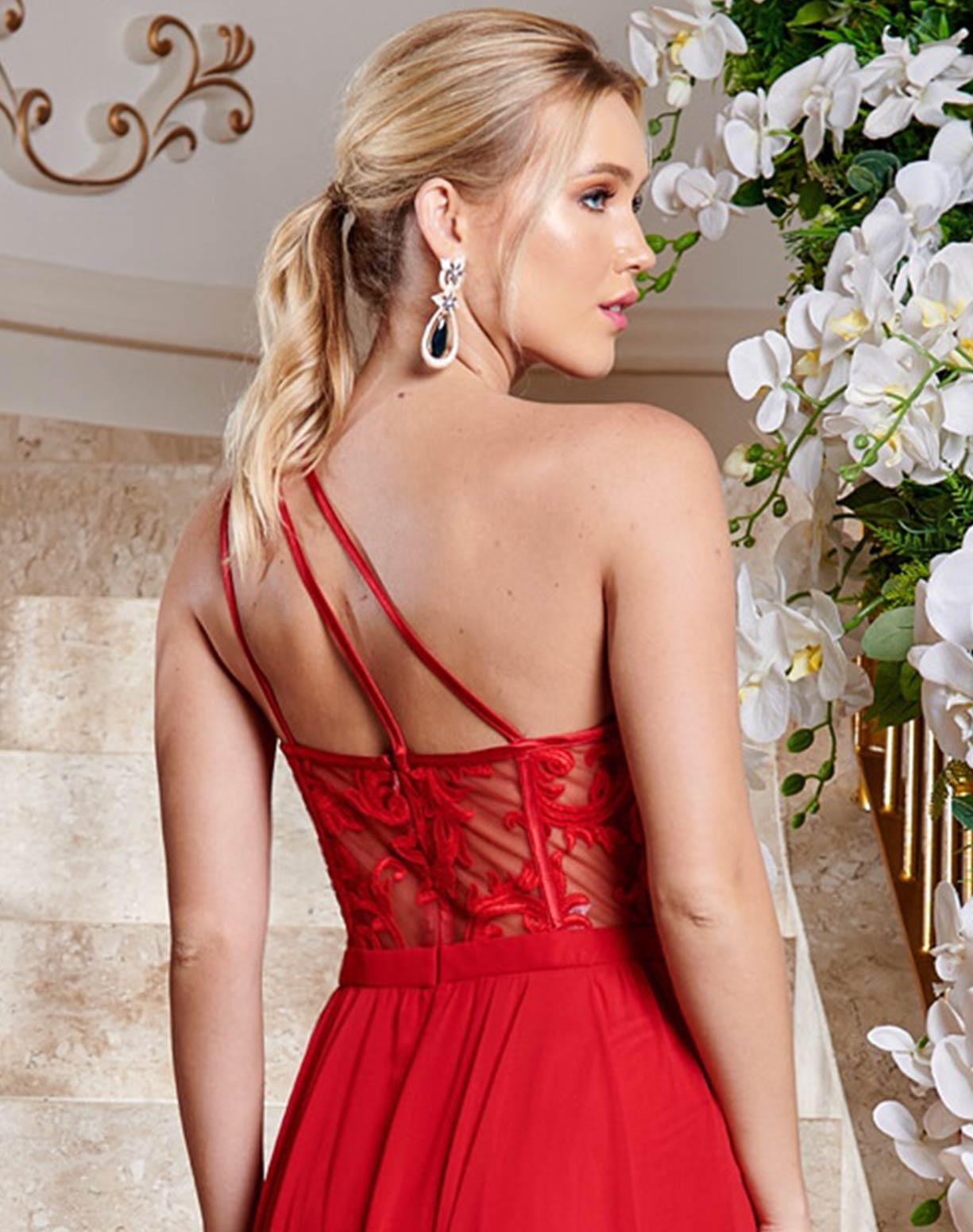 Vestido Vermelho de um Ombro Só