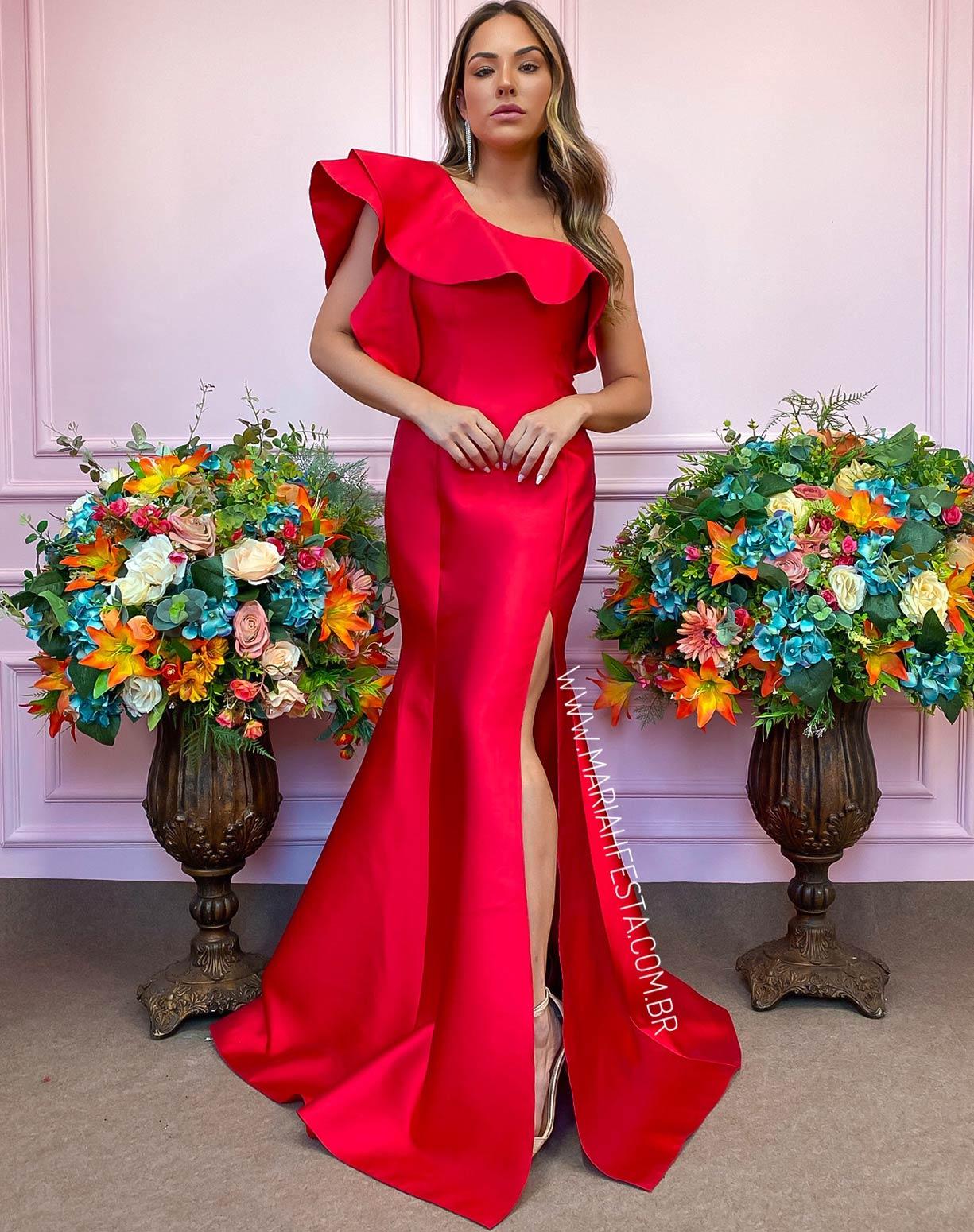 Vestido Vermelho de Um Ombro Só em Zibeline