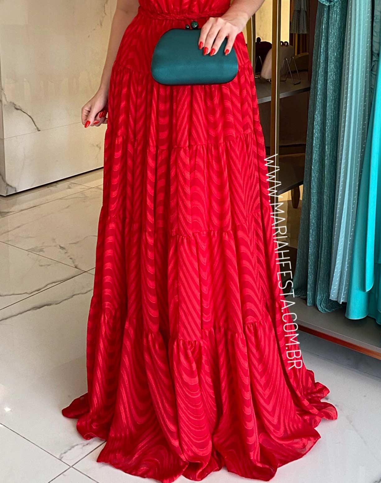 Vestido Vermelho em Musseline Texturizado com Decote nas Costas
