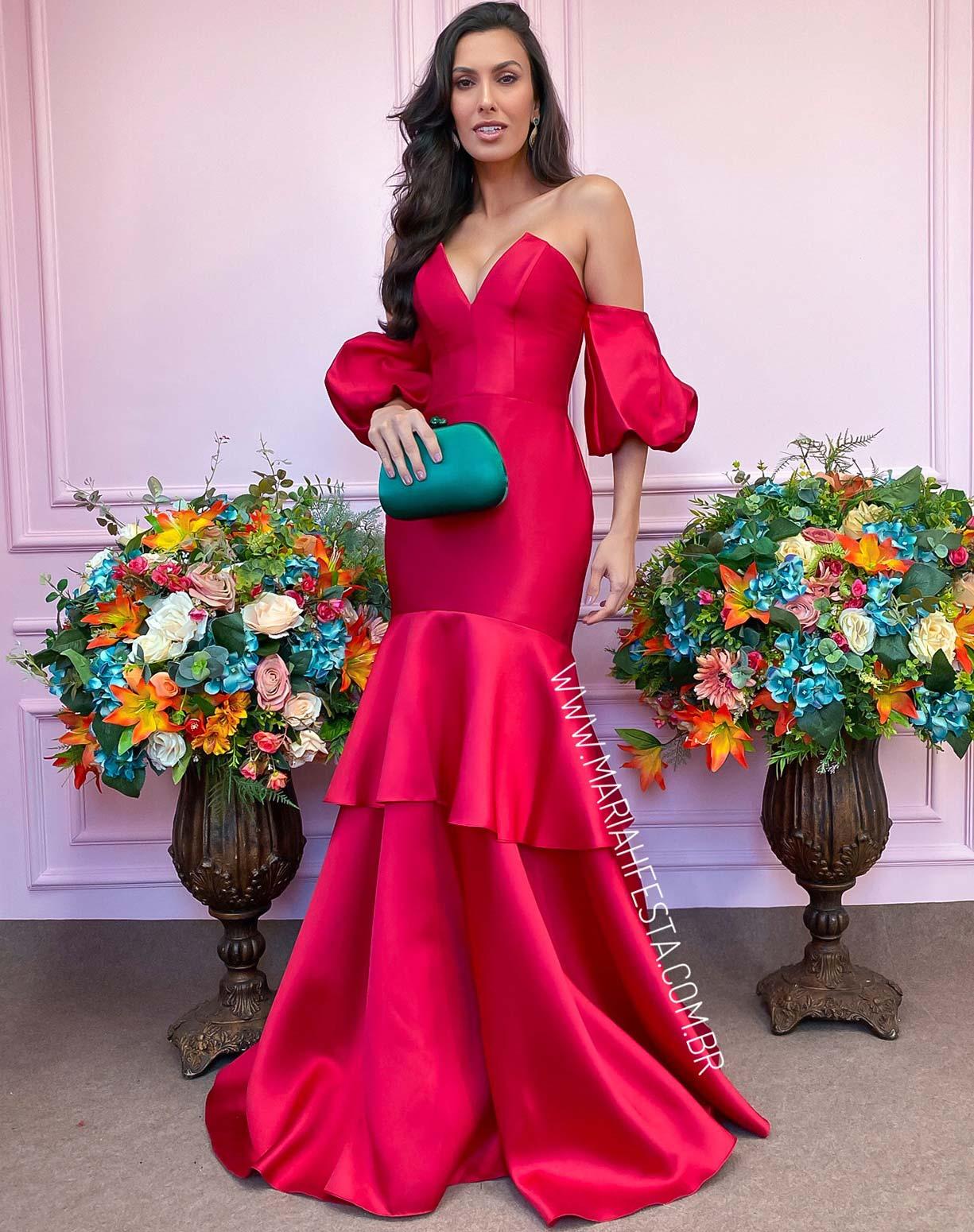 Vestido Vermelho em Zibeline com Manga Bufante