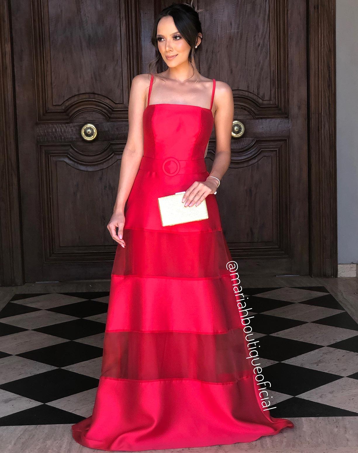 Vestido Vermelho em Zibeline e Organza