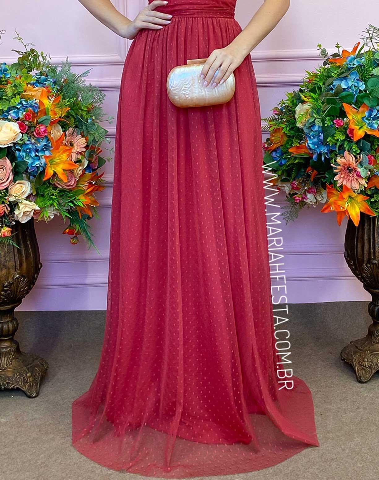 Vestido Vermelho Goiaba em Tule Texturizado