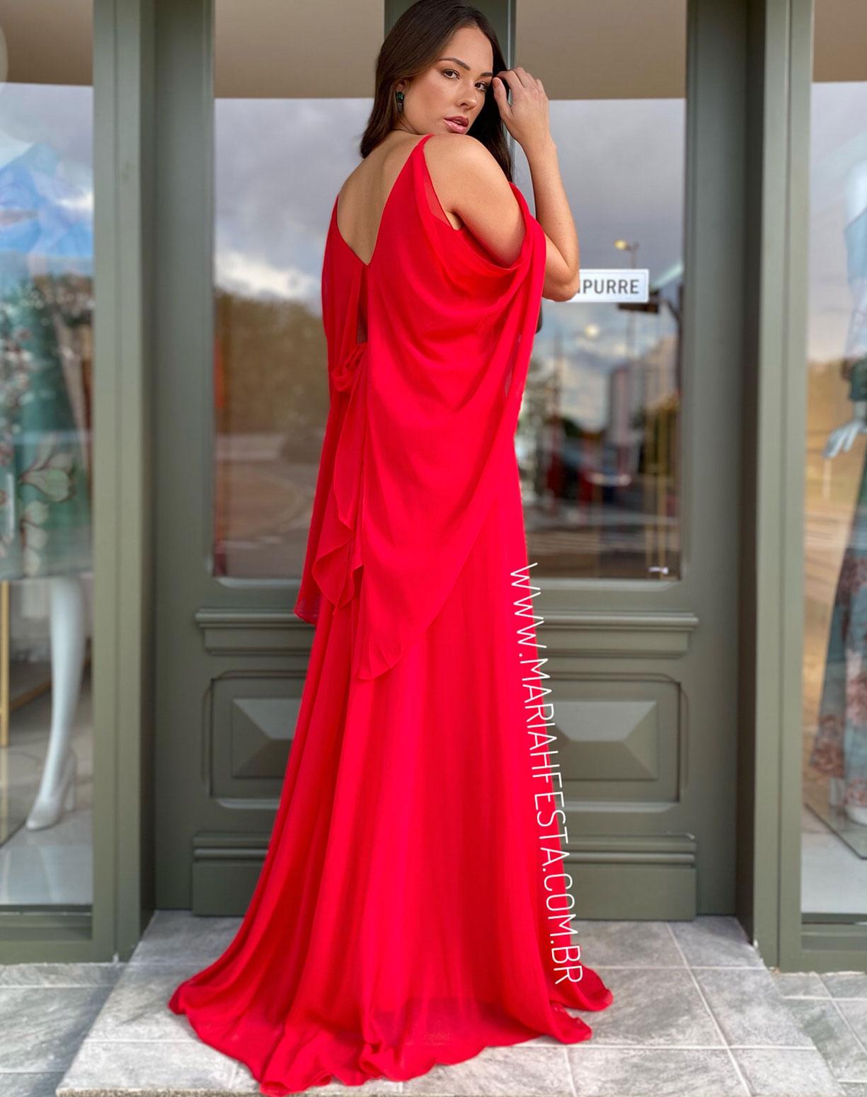 Vestido Vermelho Manga Capa e Saia Evasê